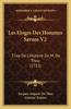 Les Eloges Des Hommes Savans V2: Tirez de L'Histoire de M. de Thou (1715)