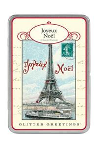 Paris Eiffel Tower Glitter Greetings Postcards
