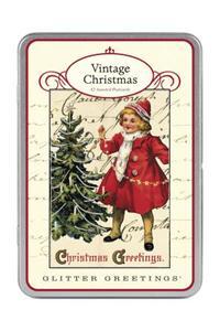 Vintage Christmas Glitter Greetings Postcards