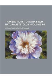 Transactions - Ottawa Field-Naturalists' Club Volume 1-7