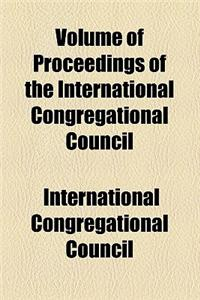 Volume of Proceedings of the International Congregational Council