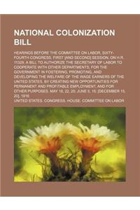National Colonization Bill (Volume 2); Hearings Before the Committee on Labor, Sixty-Fourth Congress, First [And Second] Session, on H.R. 11329, a Bil