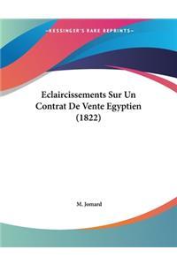 Eclaircissements Sur Un Contrat De Vente Egyptien (1822)