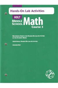 Holt Mathematics: Hands on Lab Activities Course 3