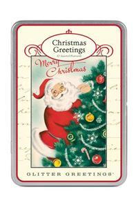 Santa Claus Glitter Greetings Postcards