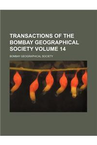 Transactions of the Bombay Geographical Society Volume 14