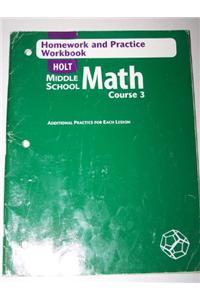 Holt Mathematics: Homework and Practice Workbook Course 3