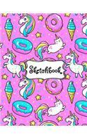 Sketchbook: Cute Unicorn Kawaii Sketchbook for Girls: 100+ Pages of 8.5x11 Blank Paper for Drawing, Doodling or Sketching